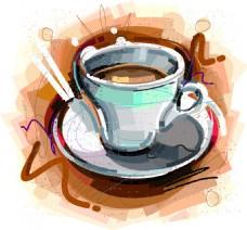 下午茶咖啡现代个性涂鸦设计矢量