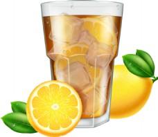 夏季美味柠檬茶插画