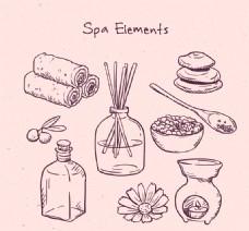 9款手绘spa元素矢量