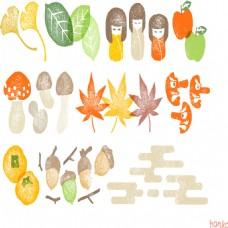树叶小娃娃水果设计素材