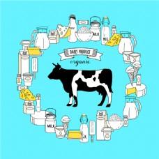 卡通奶牛乳制品图片