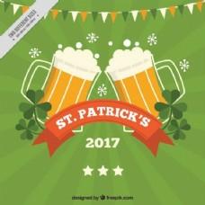 绿色圣帕特里克日的背景啤酒和花环