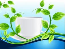 绿色小清新叶子茶杯背景图