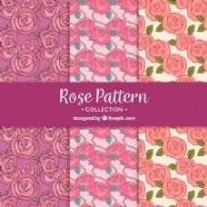 粉红玫瑰三种装饰图案