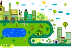 生态城市绿色城市素描图的各种符号自由矢量