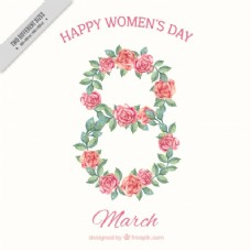 八个女人时代背景的水彩玫瑰