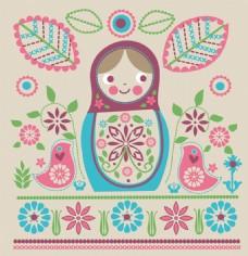花纹小婴儿服装可爱动物图案矢量素材