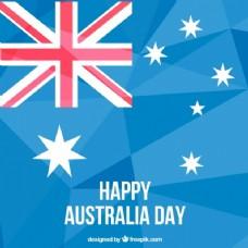 澳大利亚日背景与蓝色色调多边形
