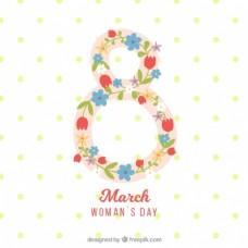 妇女节背景与八的鲜花