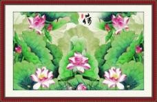荷花中国风山水水墨风景