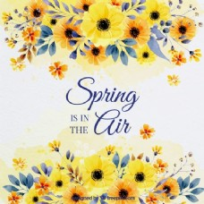 春季背景与水彩花