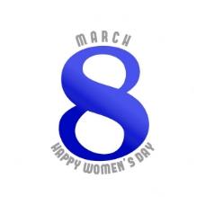 妇女节,白色和蓝色背景