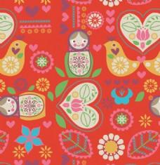 红色日本风格可爱动物图案矢量素材
