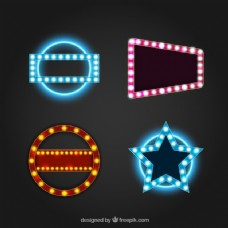 四霓虹灯几何标志设置