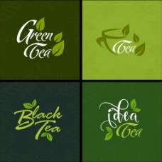 绿色茶元素矢量图