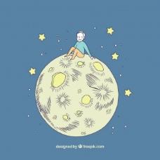 坐在月球上的男孩的好背景