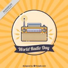 世界无线电日的黄色和蓝色背景