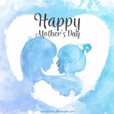 水彩剪影背景的母亲和女儿