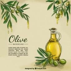 橄榄油素描背景