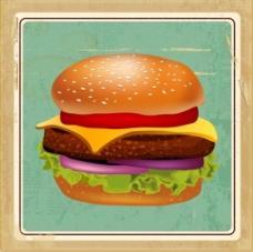 牛肉汉堡矢量背景