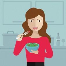 在厨房里吃饭的女人