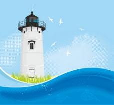 大海与白色航海灯塔背景图