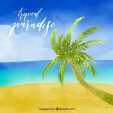 热带水彩画海滩背景