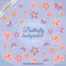 可爱的背景蝴蝶和心