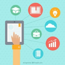 iPad和在线学习图标背景