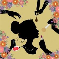 漂亮美女化妆背景图