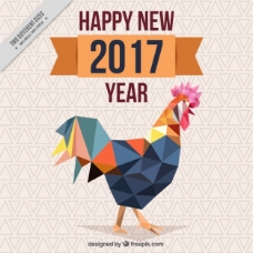 中国新年背景与多边形公鸡