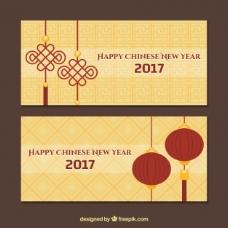 具有几何背景的中国新年旗帜