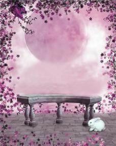 粉色花环下的长椅H5背景图