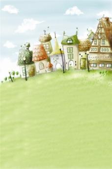 卡通城堡草地H5背景