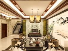 中式客厅室内效果图3Dmax模型