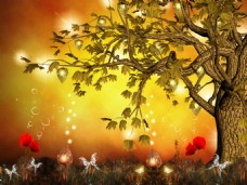 金色大树梦幻童话背景墙装饰画