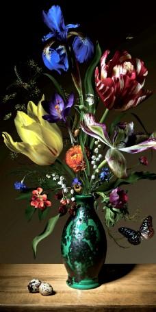 花瓶静物油画装饰画