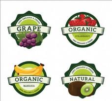 四个圆形水果标签