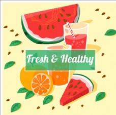 西瓜橙汁的海报