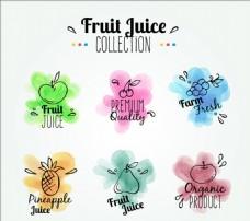 水彩水果标签
