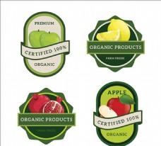不同的水果绿色标签