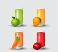 四个写实的果汁插图