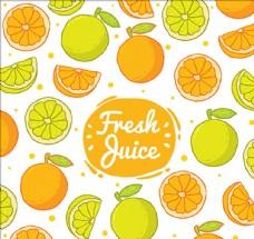 手绘橘子和柠檬背景