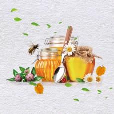 蜜蜂飘落的绿叶素材