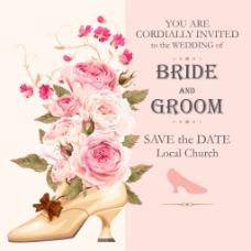 高跟鞋花朵婚庆请柬高清邀请海报矢量素材