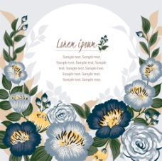 蓝色唯美花环花环婚庆海报矢量设计素材