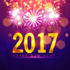 在烟花和背景虚化效果丰富多彩的新年背景