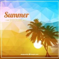 棕榈树的夏季背景