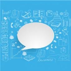 带有语音泡泡和业务项目的蓝色背景