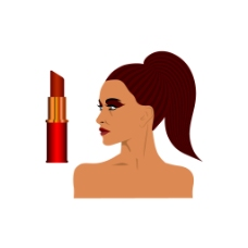 手绘卡通女人口红元素
